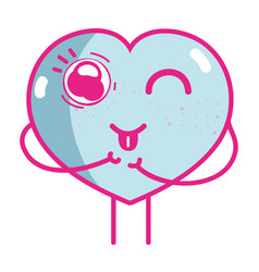 Kawaii cute funny heart love vector