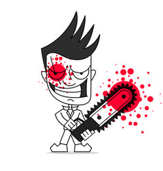 Killer with chainsaw on white vector