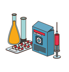 Laboratory instruments with medicines in white vector