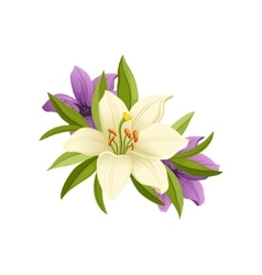 Lilies Hand Drawn Realistic vector