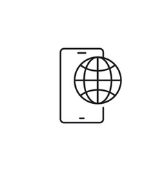 Line mobile roaming icon on white background vector