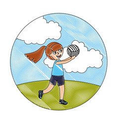 little sport girl holding volleyball ball vector image