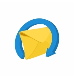 Mail envelope and blue circular arrow icon vector
