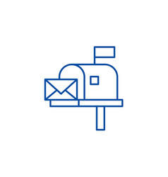 mailbox line icon concept mailbox flat vector image