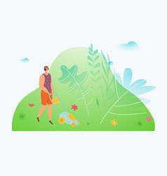 man work garden worker uses sward mower tools vector image
