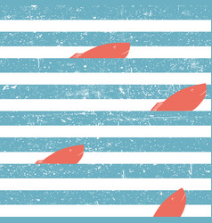 marine background with red fish seamless blue vector image