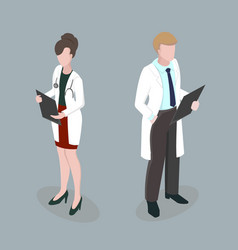 Medical staff meeting doctors 3d isometric disign vector