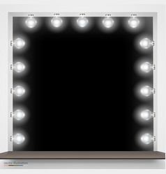 Mirror with bulbs for makeup vector