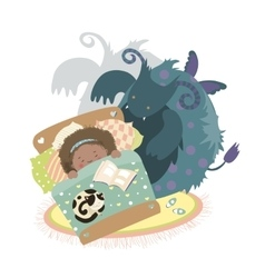 Monster sits at bed and frightened girl vector