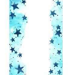 Ndigo blue star on blue sky watercolor border vector