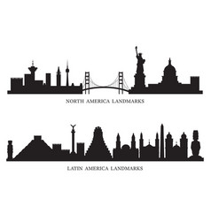 North south and latin america skyline landmarks vector