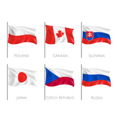 official flags realistic set vector image