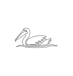 one single line drawing cute pelican for vector image