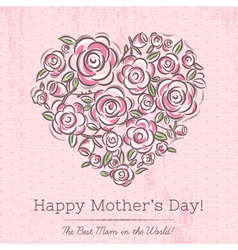 Pink card with heart of flowers for Mothers Day vector image