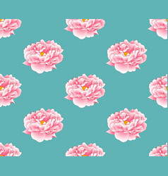 Pink peony on green teal background vector