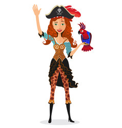 Pirate girl waving with a parrot isolated vector