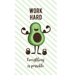 poster of happy avocado exercise ad heavy lifting vector image