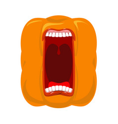 pumpkin screams open mouth for halloween pumpkin vector image