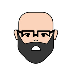 Sad man head and face with glasses vector