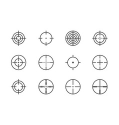scope flat line icons set target weapon aim vector image