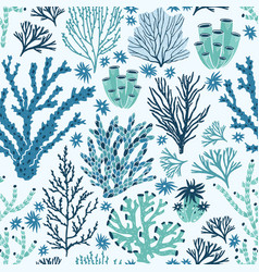 seamless pattern with blue and green corals and vector image
