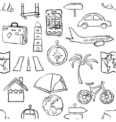 seamless sketch travel pattern vector image