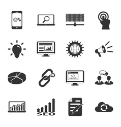 Search engine optimization black and white flat vector