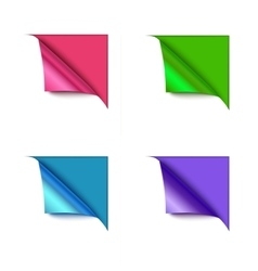 Set of four paper corner folds isolated on color vector image