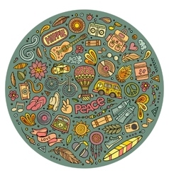 Set of Hippie cartoon doodle objects vector