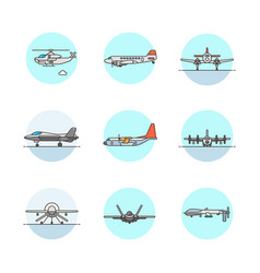 Set of multicolor army icons vector