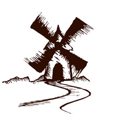 sketch of old mill vector image