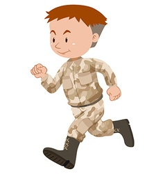 Soldier in brown uniform running vector image