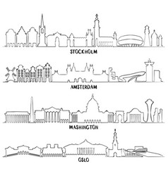 Stockholm amsterdam washington and oslo vector