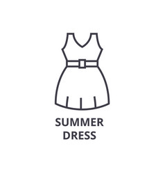 summer dress line icon outline sign linear vector image