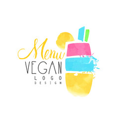 Summer menu logo design badge for vegetarian vector