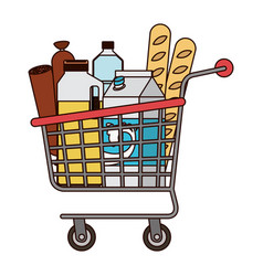 supermarket shopping cart with foods sausage bread vector image