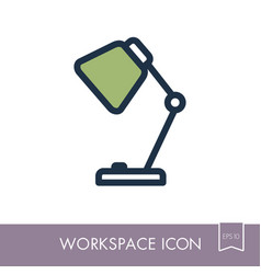 Table lamp outline icon workspace sign vector