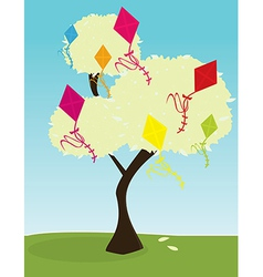 Tree with kites vector