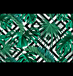 tropical leaves summer seamless pattern vector image