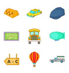 trucking icons set cartoon style vector image