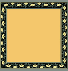 Vintage square frame with yellow tulips art nouve vector