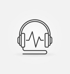 wired headphones with sound wave linear vector image