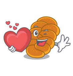 With heart challah mascot cartoon style vector