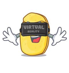 With virtual reality potato chips mascot cartoon vector
