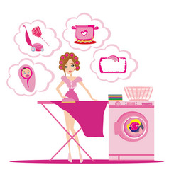 Woman irons clothes and thinks of other homework vector