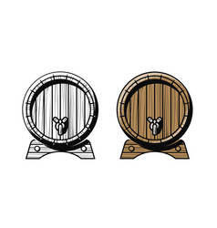 wooden barrel with faucet alcoholic drink pub vector image