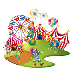 clowns performing in the circus vector image vector image
