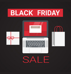 laptop with shopping bag and gift box black friday vector image