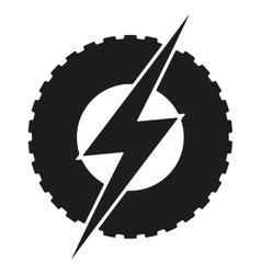 Logotype round wheel with lightning Eco electric vector image