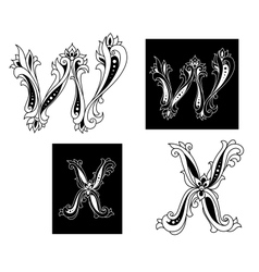 Retro letters W and X vector image